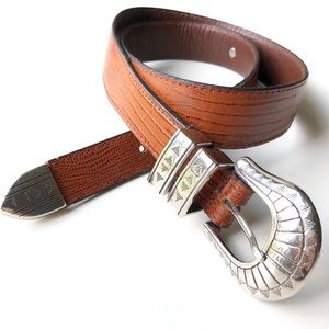 Vintage | Lizard Western Leather Made in USA Belt